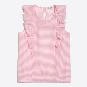 J. Crew Pink & White Striped Ruffled Tank Top